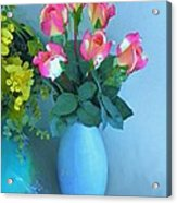 Roses And Flowers In A Vase Acrylic Print