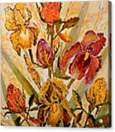 Roses And Irises Acrylic Print