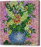 Roses And White Lilacs Lacy Bouquet Digital Painting Acrylic Print