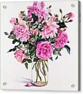 Roses In A Glass Jar  Acrylic Print by Christopher Ryland