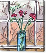 Roses In A Glass Vase Acrylic Print