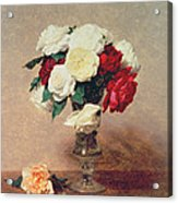 Roses In A Vase With Stem Acrylic Print