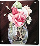Roses In The Glass Vase Acrylic Print