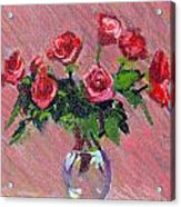 Roses On Pink Acrylic Print