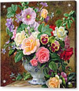 Roses Pansies And Other Flowers In A Vase Acrylic Print