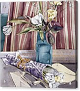 Roses Tulips And Striped Curtains Acrylic Print by Julia Rowntree