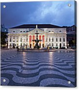 Rossio Square At Night In Lisbon Acrylic Print