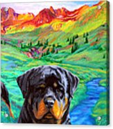 Rottweiler Dogs Landscape Painting Bright Colors Acrylic Print