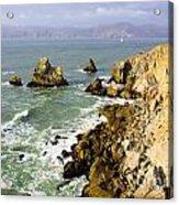 Rough Californian Shore Near San Francisco Ca Cliff House 2 Acrylic Print