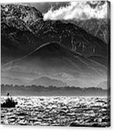 Rough Seas Kaikoura New Zealand In Black And White Acrylic Print