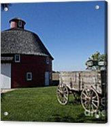 Round Barn Wooden Wagon Acrylic Print
