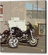 Route 66 Motorcycles With A Dry Brush Effect Acrylic Print