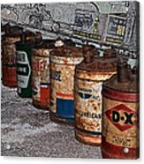 Route 66 Odell Il Gas Station Oil Cans Digital Art Acrylic Print
