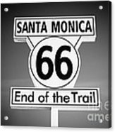 Route 66 Sign In Santa Monica In Black And White Acrylic Print