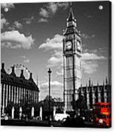 Routemaster Bus On Black And White Background Acrylic Print