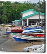 Row Boats On Beach Acrylic Print