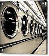 Row Of Washing Machines In Laundromat Acrylic Print