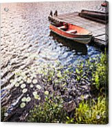 Rowboat At Lake Shore At Sunrise Acrylic Print by Elena Elisseeva