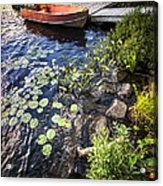 Rowboat At Lake Shore Acrylic Print