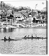 Rowing Along The Schuylkill River In Black And White Acrylic Print