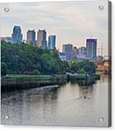 Rowing On The Schuylkill Riverwith Philadelphia Cityscape In Vie Acrylic Print