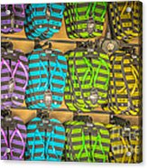 Rows Of Flip-flops Key West - Hdr Style Acrylic Print