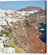 Rows Of Houses Perch On Cliff In Oia Acrylic Print