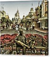 Roy And Minnie Mouse Antique Style Walt Disney World Acrylic Print