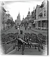 Roy And Minnie Mouse Black And White Magic Kingdom Walt Disney World Acrylic Print
