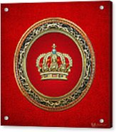 Royal Crown In Gold On Red  Acrylic Print