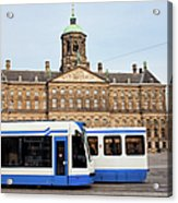 Royal Palace And Trams In Amsterdam Acrylic Print
