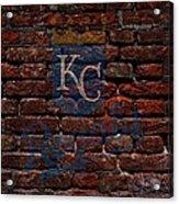 Royals Baseball Graffiti On Brick  Acrylic Print by Movie Poster Prints