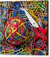 Rubber Band Ball With Sccisors Acrylic Print