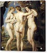 Rubens, Peter Paul 1577-1640. The Three Acrylic Print by Everett