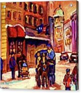 Rue St. Paul Old Montreal Streetscene In Winter Acrylic Print