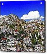 Rugged Cliffside Village Digital Painting Acrylic Print