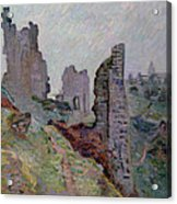 Ruins In The Fog At Crozant Acrylic Print by Jean Baptiste Armand Guillaumin