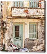 Run-down Building In Rethymnon Acrylic Print