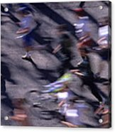 Runners Along Street In A Marathon Blurred And Abstract Acrylic Print