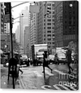 Running In The Rain - New York City Street Scene Acrylic Print