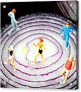 Running On Red Onion Little People On Food Acrylic Print