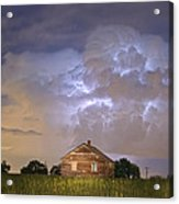 Rural Country Cabin Lightning Storm Acrylic Print