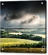 Rural Landscape Stormy Daybreak Acrylic Print