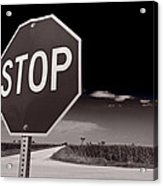 Rural Stop Sign Bw Acrylic Print