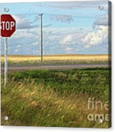 Rural Stop Sign On The Prairies  Acrylic Print