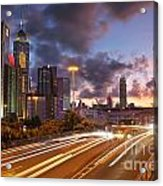 Rush Hour During Sunset In Hong Kong Acrylic Print