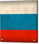 Russia Flag Vintage Distressed Finish Acrylic Print
