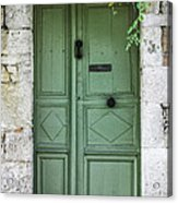 Rustic Green Door With Vines Acrylic Print