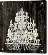 Rustic Shabby Chic White Chandelier On Wood Acrylic Print