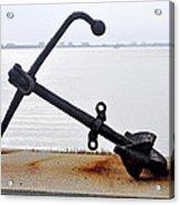 Rusty Black Boat Anchor By Sarasota Harbor Usa Acrylic Print